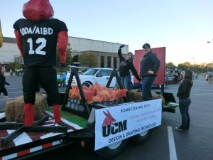 The University of Central Missouri's Design & Drafting Technology homecoming float.