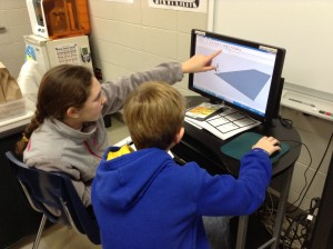 5th graders using Sketchup to complete a school project. Photo provided by Forest Oaks Elementary School.