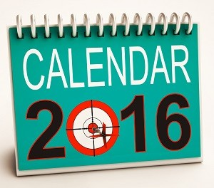 2016 Calendar Showing Future Target Business Plan