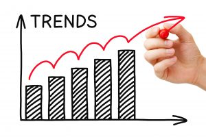 Male hand drawing Trends Growth Graph with marker on transparent wipe board.